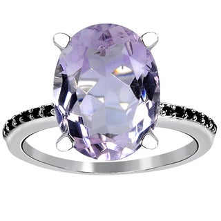 Orchid Jewelry 925 Sterling Silver 5 3/20ct Genuine Purple Amethyst and Spinel Ring