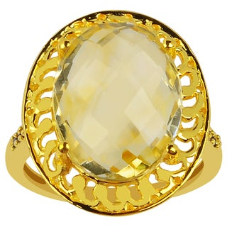 Orchid Jewelry 10k Yellow Gold Over Silver 7 1/2 TGW Citrine Birthstone Ring