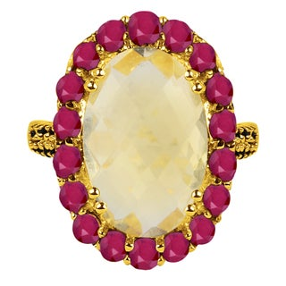 Orchid Jewelry 925 Sterling Silver 6 13/20ct Genuine Citrine Ruby and Spinel Ring (2 options available)