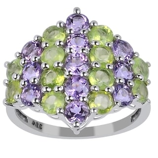 Orchid Jewelry Sterling Silver Genuine Amethyst and Peridot Ring