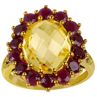 Orchid Jewelry Sterling Silver 7 3/5ct Genuine Citrine, Ruby 14k Gold Plated Ring