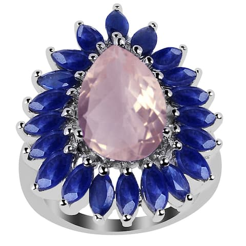 Rose Quartz, Sapphire Sterling Silver Pear Cluster Ring by Orchid Jewelry