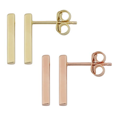 10k Gold Bar High Polish Earrings