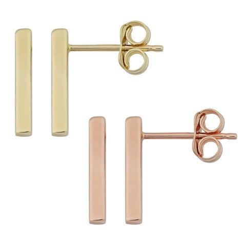 Fremada 10k Gold High Polish Bar Earrings