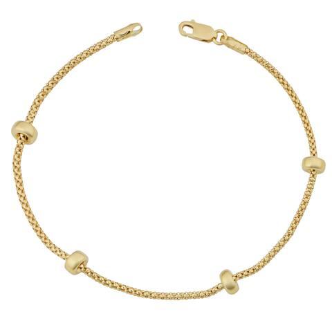 Fremada 18k Yellow Gold Italian Puffed Bead Station Bracelet (7.5 inches)
