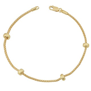 Fremada 18k Yellow Gold Italian Puffed Bead Station Bracelet (7.5 inches)