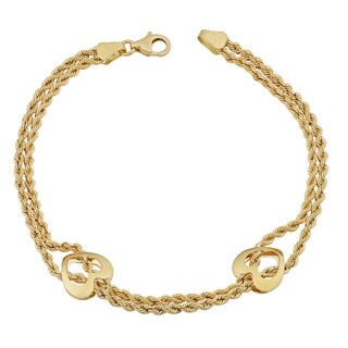 Fremada 18k Yellow Gold Italian Double Strand Rope and Heart Bracelet (7.5 inches)