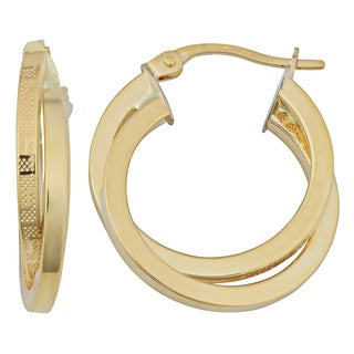 Fremada 18k Yellow Gold Italian 2x15-mm Greek Key Double Hoop Earrings