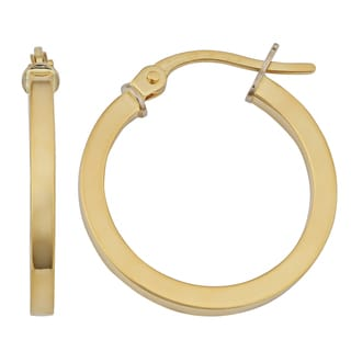 Fremada 18k Yellow Gold Italian High Polish Flat Hoop Earrings