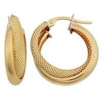 Fremada 18k Yellow Gold Italian 3x15-mm High Polish and Textured Double Hoop Earrings