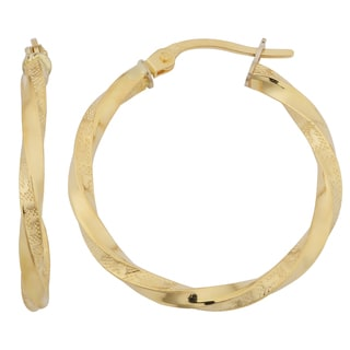 Fremada 18k Yellow Gold Italian 2x20-mm Greek Key Twisted Hoop Earrings