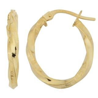Fremada 18k Yellow Gold Italian 2x15-mm Greek Key Twisted Oval Hoop Earrings