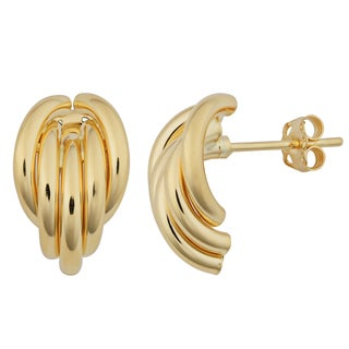 Fremada 18k Yellow Gold Italian High Polish Fancy Half Hoop Earrings
