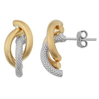 Fremada 18k Two-tone Gold Italian High Polish and Textured Overlapping Half Hoop Earrings