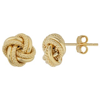 Fremada 18k Two-tone Gold Italian Florentine Love Knot Earrings