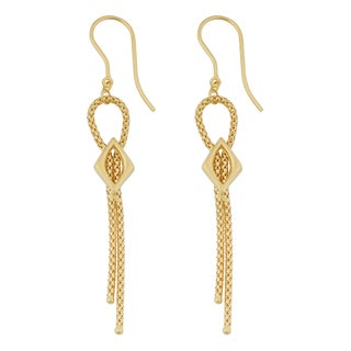 Fremada 18k Yellow Gold Italian Fancy Popcorn Chain Dangle Earrings