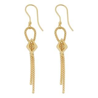 Fremada 18k Yellow Gold Italian Fancy Popcorn Chain Dangle Earrings