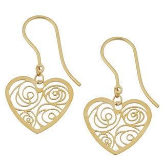 Fremada 18k Yellow Gold Italian Filigree Heart Drop Earrings
