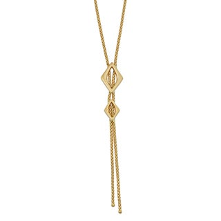 Fremada 18k Yellow Gold Italian Marquise Lariat Necklace (16.5 inches)