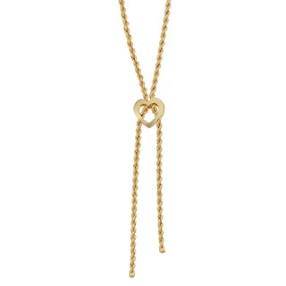 Fremada 18k Yellow Gold Italian Heart Lariat Necklace (16.5 inches)