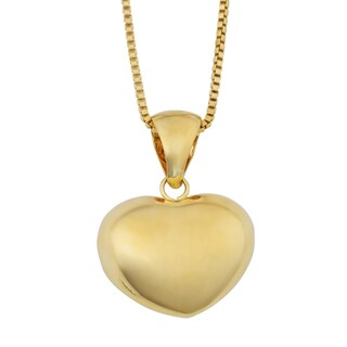 Fremada 18k Yellow Gold Italian Puffed Heart Pendant on Complementary Box Chain Necklace (18 inches)