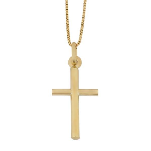 Fremada yellow gold italian cross pendant on complementary box chain fremada yellow gold italian cross pendant on complementary box chain necklace 18 inches aloadofball Image collections