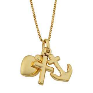 Fremada Yellow Gold Italian Faith, Hope, Charity Pendant on Complementary Box Chain Necklace (18