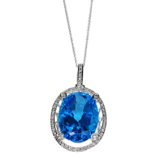 Kabella 14k White Gold Diamond Accent Oval Blue Topaz Pendant