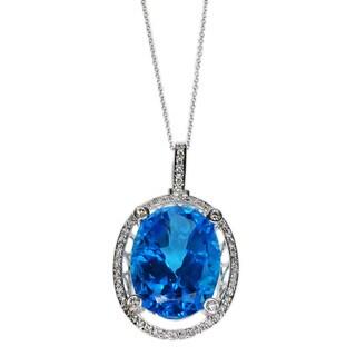 Kabella 14k White Gold Diamond Accent Oval Blue Topaz Pendant