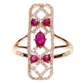 Kabella 18k Rose Gold Ruby and Diamond Accent Ring