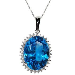 Kabella 14k White Gold Blue Topaz and Diamond Accent Pendant
