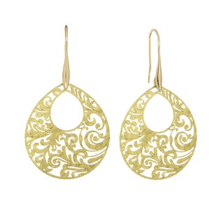 Isla Simone Gold Tone Paisley Etched Oval Earring