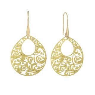 Isla Simone Gold Tone Paisley Etched Oval Earring
