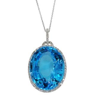 Kabella 14k White Gold Diamond Accent Blue Topaz Pendant