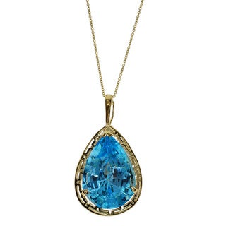 Kabella 14k Yelllow Gold Blue Topaz Pendant