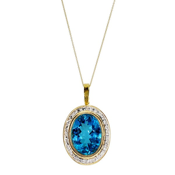 Kabella 14k Yellow Gold Blue Topaz and Diamond Accent Pendant