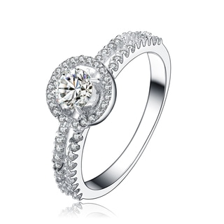 Collette Z Sterling Silver Cubic Zirconia Solitaire with Two Row Ring