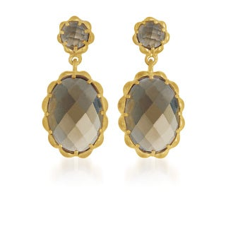 Collette Z Gold Overlay Smoky Cubic Zirconia Drop Earrings