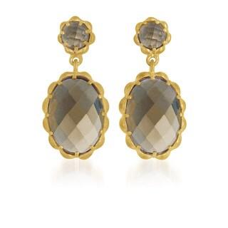 Collette Z Gold Overlay Smoky Cubic Zirconia Drop Earrings