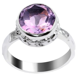 Orchid Jewelry Silver Overlay 3 1/10ct Round-cut Amethyst Ring
