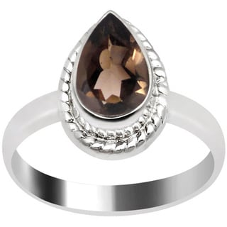 Orchid Jewelry Silver Overlay 1 1/5ct Pear-cut Smoky Quartz Ring