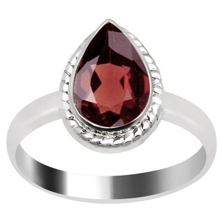 Orchid Jewelry Silver Overlay 1 1/2ct Pear-cut Natural Garnet Ring