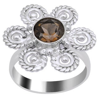 Orchid Jewelry Silver Overlay 1 1/4ct Round-cut Smoky Quartz Flower Ring
