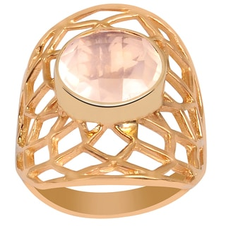 Orchid Jewelry's Wonderful 2.95 Carat Weight Genuine Rose Quartz Brass Ring