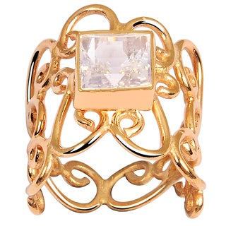 Orchid Jewelry Rose Gold Overlay 2 1/2ct Rose Quartz Ring