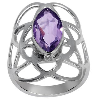 Orchid Jewelry Silvertone 2 1/4ct. Natural Amethyst Fashion Ring
