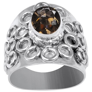 Orchid Jewelry's Sparkling 1.75 Carat Weight Genuine Smoky Quartz Brass Ring