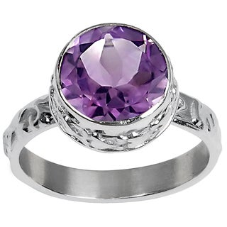 Orchid Jewlery's 3.10 Carat Weight Genuine Amethyst Brass Ring