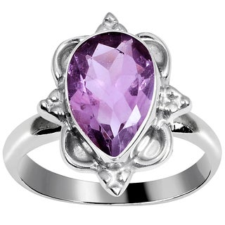 Orchid Jewelry Silver Plated Pear-cut Natural Amethyst Ring