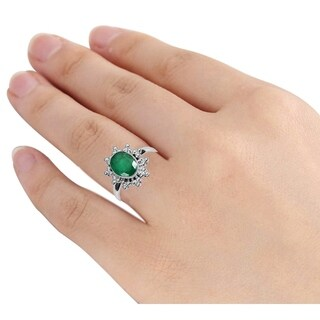 Orchid Jewelry's Brass Ring Studded with 1.85 Carat Weight Genuine Emerald